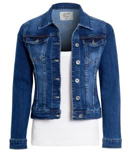 Womens Fitted Stretch Denim Jacket, Mid Blue, UK Sizes 6 to 14