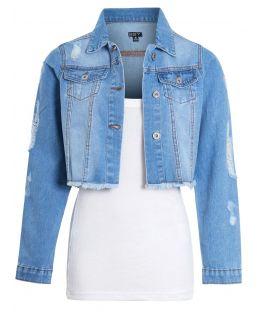 Womens Cropped Denim Jacket in Stonewash Blue, UK sizes 8 to 16