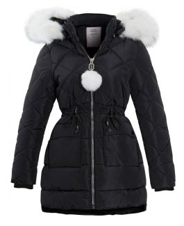 Girls Quilted Parka Coat with Luxurious Faux Fur, Pink, Black, Ages 3 - 14 Years