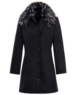 Womens Faux Fur Collar Wool Coat, Black, Sizes 8 to 16