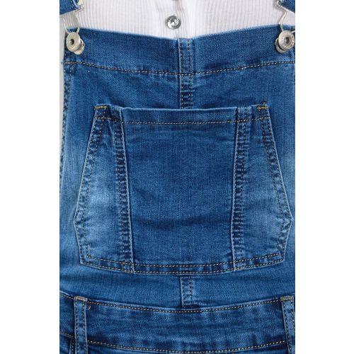 Womens Ripped Dungaree Shorts Denim Short Dungarees Size 6 8 10 12 14 Denim Blue