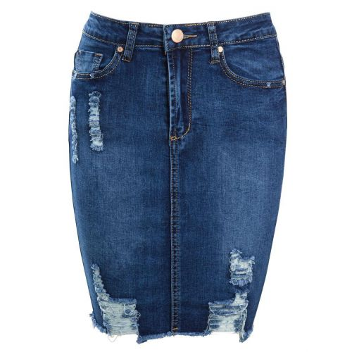 New Women Distressed Denim Pencil Stretch Jean Skirt Rip Blue Size 8 10 12 14 16
