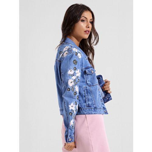 Jacket  with Embroidery Vintage Jeans Denim Jacket Size S Size US 6 UK 12 EU 36 Women\u2019s Blue Denim Jacket Blazer