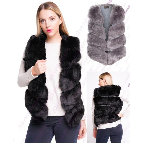 presenting arrives look for Womens Faux Fur Gilet Jacket, Black, Grey, Mustard, White, Sizes 6 ...