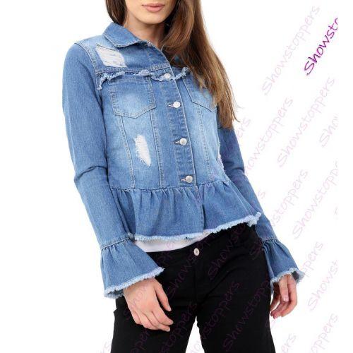 NEW Oversized Denim Jacket Women/'s Jean Jackets Ladies Blue Size 8 10 12 14 16
