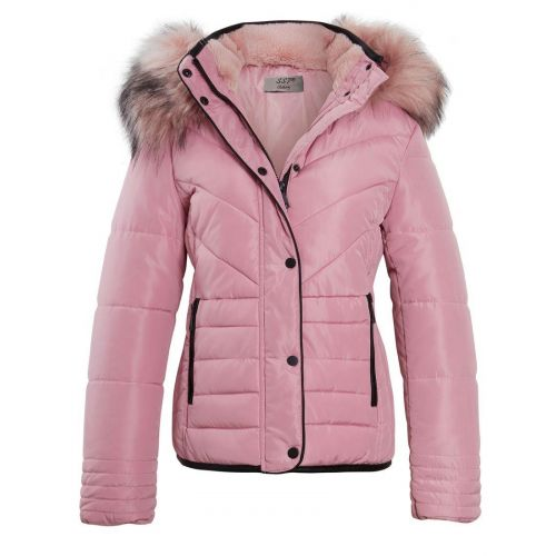 Size 16 18 New Ladies Quilted Padded Zip Popper Jacket Women/'s Coat Pink