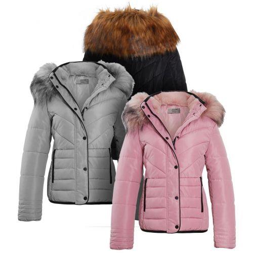 Womens Luxurious Fur Puffer Jacket, Pink, Black, Grey, Sizes 6 to 16