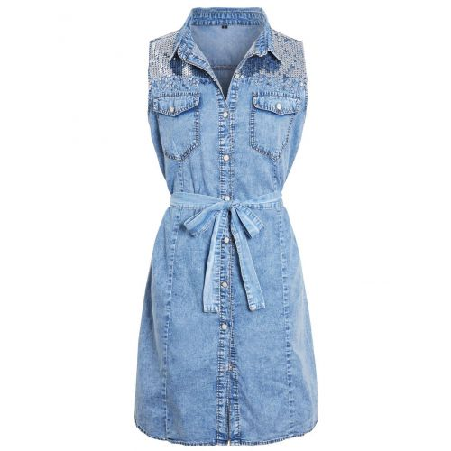 Womens sleeveless Denim Shirt Dress with Sequins, UK Sizes 8 to 16