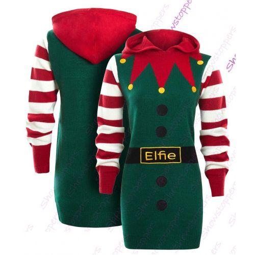 SS7 Womens Christmas Jumper Dress Elfie