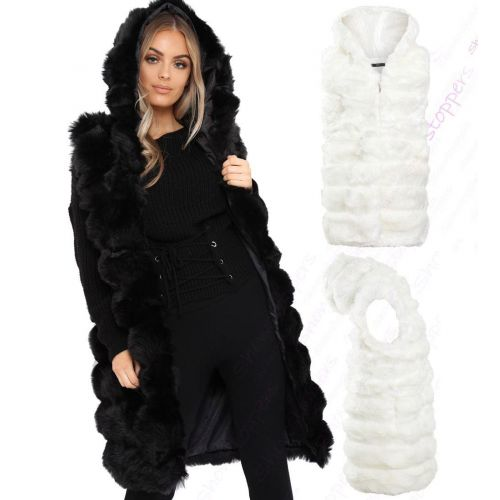 Size 6 8 10 12 14 Womens GILET BODYWARMER FAUX FUR JACKET PADDED Hood Waistcoat