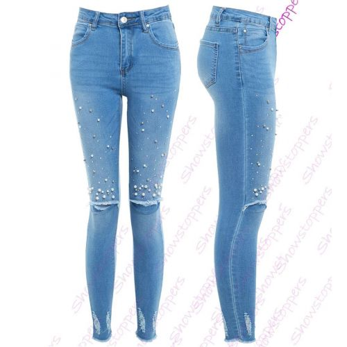 SS7 Womens Pearl Denim Jacket Ladies Stretch Jean Jackets Size 6 8 10 12 14 Blue