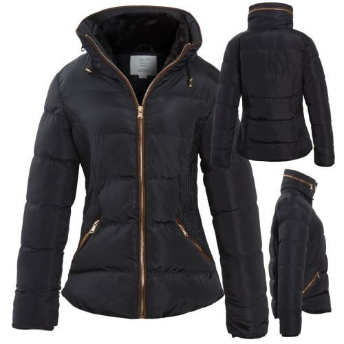 Womens Quilted Coat Padded Parka Faux Fur Size 12 8 10 14 16 Black