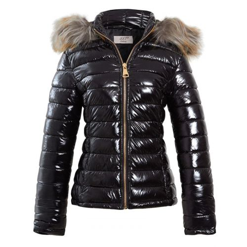 finest selection detailing latest Womens Wet Look Shiny Puffer Jacket with Faux Fur Hood, Sizes 6 to 16