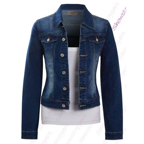 Womens Size 16 14 12 10 8 Stretch Denim Jacket Jean Jackets Stonewash Blue