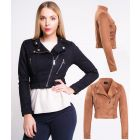 Womens Faux Suede Biker Jacket Crop Ladies Size 8 10 12 14 Black Tan New
