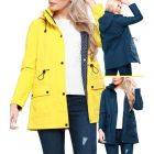 Womens Waterproof Windproof Raincoat Hooded Jacket Yellow Navy