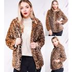 Womens Faux Fur Coat Luxurious Hood Leopard Jacket Size 8 10 12 14
