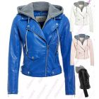Womens Faux Leather Biker Jacket Ladies Jersey Hood Size 8 10 12 14