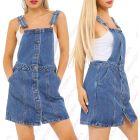 Womens Dungaree Pinafore Dress Denim Skirt Dungarees Size 8 10 12 14 16 Denim Blue