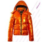Womens Puffer Coat Metallic Bubble Parka Jacket Orange Size 8 10 12 14 16