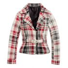 Womens Check Biker Jacket Ladies Coat Size 8 10 12 14 Red Cream New