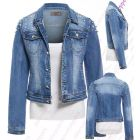 Womens Pearl Denim Jacket Ladies Stretch Jean Jackets Size 6 8 10 12 14 Blue