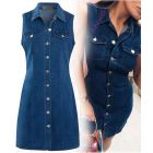 Womens Denim Dress Ladies Stretch Sleeveless Shirt Dresses Size 8 10 12 14 16 Blue