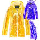 Womens Holographic Rain Mac Waterproof Raincoat Ladies Mustard Jacket Size 8 - 16