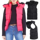 Womens Faux Fur Hooded Padded Gilet