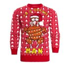 Mens Christmas Jumper Turkey Breast Man, Red, Sizes S to XL