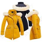 Womens Parka Coat Ladies Fur Jacket Size 8 10 12 14 16 Mustard