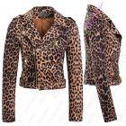 Faux Suede Leopard Biker Jacket