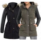 WOMENS PADDED COAT Faux Leather Quilted HOODED Faux Fur PARKA Size 8 10 14 16