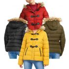 Womens Puffer Jacket Padded Parka with Faux Fur Trim, Mustard, Black, Red, Khaki, Plus Sizes 18 to 24