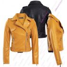 Womens Mustard Faux Leather Biker Jacket PU coat Size 8 10 12 14 Black