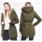 Womens Padded Parka Coat Sizes 8 to 16 Jacket Faux Fur Fishtail Canvas Khaki