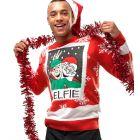 Mens Elfie Christmas Jumper Red Elf Xmas Size XS S M L XL Fun Novelty