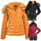 Womens Mustard Faux Fur Padded Coat Size 12 8 10 14 16 Hooded Parka