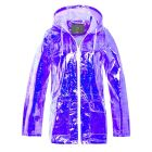 Womens Holographic Rain Mac, Lilac, White, UK Plus Size 18 - 24