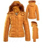 Womens Faux Fur Padded Coat Hooded Parka Mustard Size 8 10 12 14 16