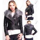 Womens Faux Fur Biker Jacket Ladies Grey Coat Size 8 10 12 14 New