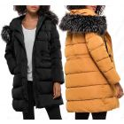 Womens Faux Fur Padded Coat Hooded Parka Mustard Size 8 10 12 14