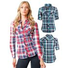 Womens Check Shirt, Red, Green, Sizes 6 to 14