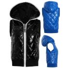 Womens Quilted Wet Look Gilet, Black, Blue, Sizes 6 to 12