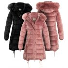 Womens Velvet Puffer Faux Fur Coat, Pink, Black, Sizes 8 to 16