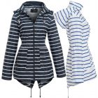 Womens Showerproof Raincoat Hooded Stripe Fishtail White Navy Size 10 12 14 16 8