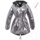 Womens Silver Metallic Rain Mac Showerproof Raincoat Ladies Jacket Size 8 - 16