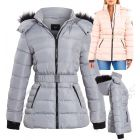 Womens Puffer Parka with Faux Fur Hooded Coat, Pale Pink, Grey, Black, Sizes 8 to 16