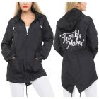 "Black Graphic "" Trouble Maker""  Fishtail Raincoat"