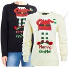Womens Christmas Jumper Sequin Elf Xmas Size 10 to 14 Cream Black Novelty